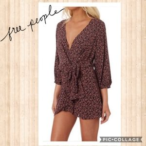 Free People Low Cut Floral Wrap Dress Like New SM